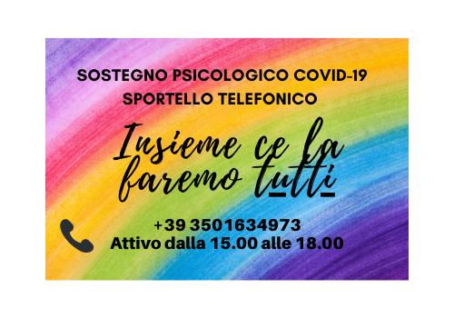 EMERGENZA COVID -19: SPORTELLO TELEFONICO PER SOSTEGNO PSICOLOGICO  – PROGETTO CHIUSO